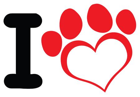 huellas de perro: Amo el perro con la pata roja del corazón de impresión diseño de logotipos. Ilustración sobre fondo blanco