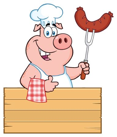 Smiling Chef Pig Cartoon Mascot Character Holding A Sausage On A Bbq Fork Over A Wooden Sign Giving A Thumb Up. Illustration Isolated On White Background Stock Photo