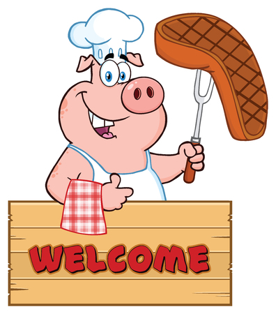 thumb up: Chef Pig Cartoon Mascot Character Holding A Cooked Steak On A Bbq Fork Over A Wooden Sign Giving A Thumb Up. Illustration Isolated On White Background With Text Welcome