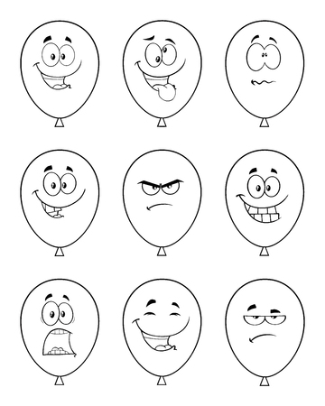 Black And White Balloons Cartoon Mascot Character With Expressions. Collection Set Isolated On White Background Banco de Imagens