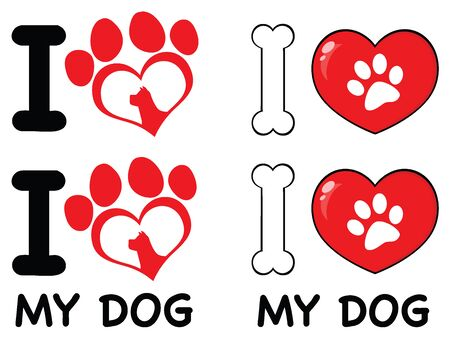 03: I Love Paw Print Logo Design 03. Collection Set Isolated On White Background