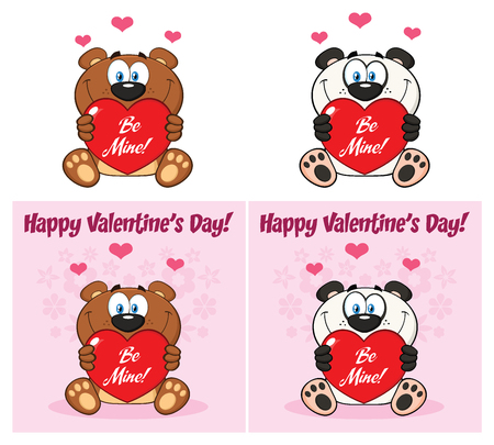 Bear And Panda Cartoon Mascot Character Holding A Valentine Love Heart. Collection Set Isolated On White Background Stock Photo
