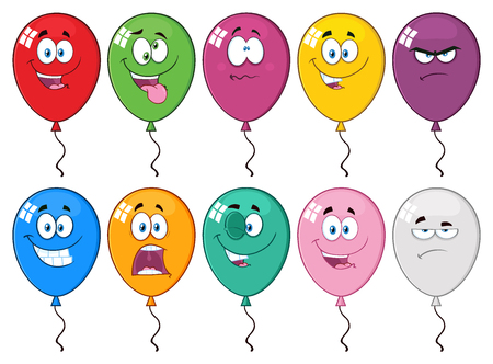 03: Colorful Balloons Cartoon Mascot Character 03. Collection Set Isolated On White Background