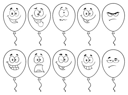 03: Black And White Balloons Cartoon Mascot Character. Collection 03. Set Isolated On White Background