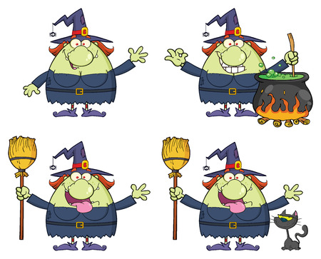 wicked set: Halloween Witch Cartoon Mascot Character 2. Collection Isolated On White