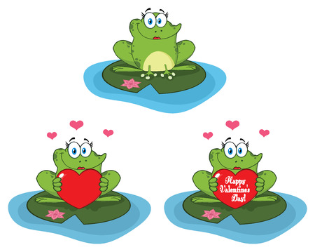 princess frog: Cute Frog Cartoon Mascot Character. Collection Isolated On White