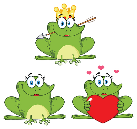 croaking: Princess Frog Cartoon Mascot Character 1. Collection Isolated On White