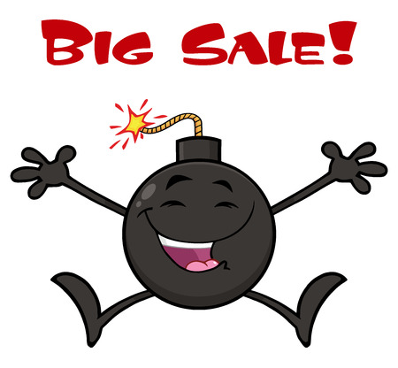 Happy Bomb Cartoon Mascot Character Jumping With Open Arms. Illustration Isolated On White Background With Text Big Sale