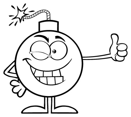Black And White Winking Bomb Cartoon Mascot Character Giving A Thumb. Illustration Isolated On White Background