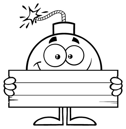 blank bomb: Black And White Smiling Bomb Cartoon Mascot Character Holding Wooden Blank Sign. Illustration Isolated On White Background Stock Photo