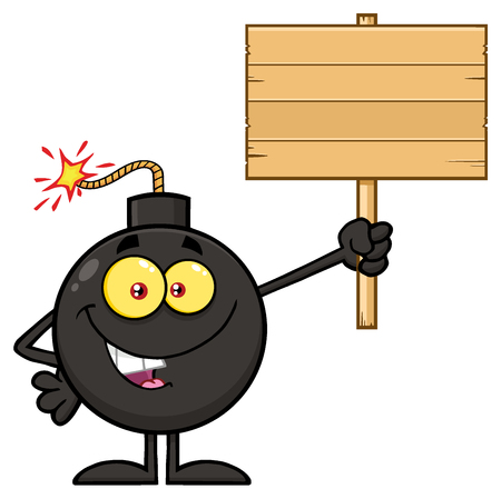 blank bomb: Smiling Bomb Cartoon Mascot Character Holding A Wooden Blank Sign. Illustration Isolated On White Background