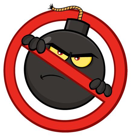 dinamita: Carácter de la mascota de la historieta de la bomba loca en una forma prohibida del símbolo. Ilustración aislada sobre fondo blanco