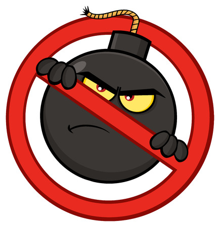 Mad Bomb Cartoon Mascot Character In A Prohibited Symbol Form. Illustration Isolated On White Background Stock Photo