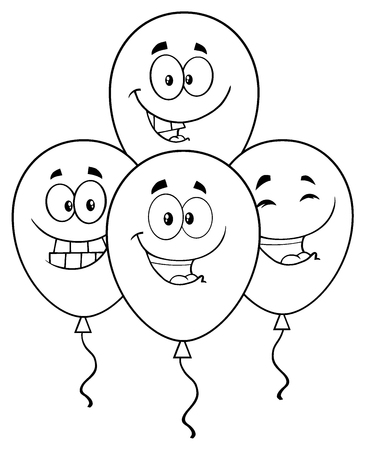 balloon cartoon: Black And White Four Balloons Cartoon Mascot Character With Expressions. Illustration Isolated On White Background