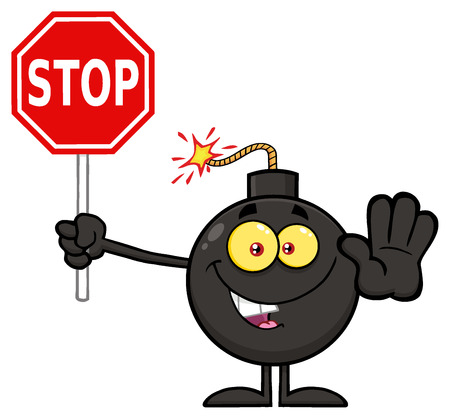 ticking: Cute Bomb Cartoon Mascot Character Gesturing And Holding A Stop Sign. Illustration Isolated On White Background Stock Photo