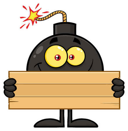 blank bomb: Smiling Bomb Cartoon Mascot Character Holding Wooden Blank Sign. Illustration Isolated On White Background