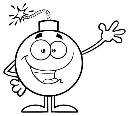 Black And White Funny Bomb Cartoon Mascot Character Waving For Greeting. Illustration Isolated On White Background