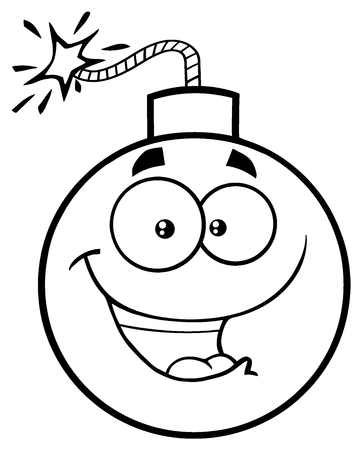 Black And White Happy Bomb Face Cartoon Mascot Character With Expressions. Illustration Isolated On White Background