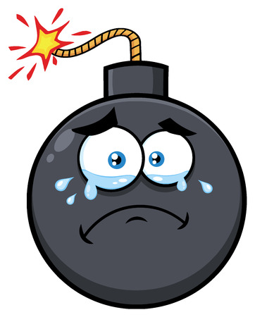 Crying Bomb Face Cartoon Mascot Character With Tears. Illustration Isolated On White Background