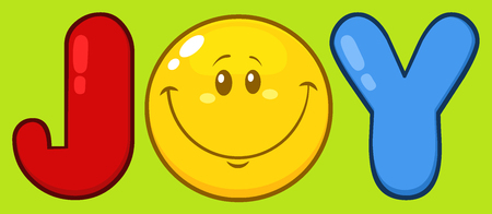 green face: Joy With Smiley Face Cartoon Character. Illustration With Green Background Stock Photo