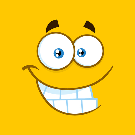 Smiling Cartoon Funny Face With Smiley Expression.  Illustration With Yellow Background Stock Photo