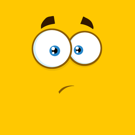 Surprisingly Cartoon Square Emoticons With Expression.  Illustration With Yellow Background