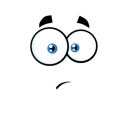 surprisingly: Surprisingly Cartoon Funny Face With Expression.  Illustration Isolated On White Background