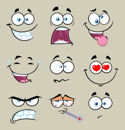 mad: Cartoon Funny Face With Expression Set 2. Collection With Gray Background Stock Photo