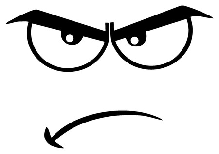 Black And White Angry Cartoon Funny Face With Grumpy Expression. Illustration Isolated On White Background