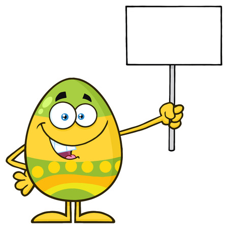 Colored Easter Egg Cartoon Mascot Character Holding A Blank Sign. Illustration Isolated On White Background Stock Photo
