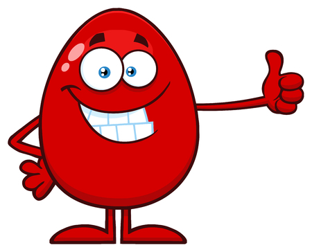 Smiling Red Easter Egg Cartoon Mascot Character Showing Thumbs Up. Illustration Isolated On White Background Фото со стока