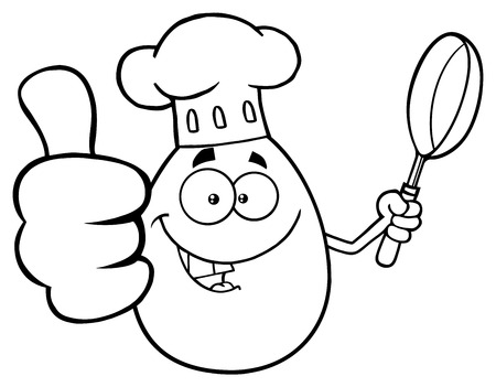 raw egg: Black And White Chef Egg Cartoon Mascot Character Showing Thumbs Up And Holding A Frying Pan. Illustration Isolated On White Background