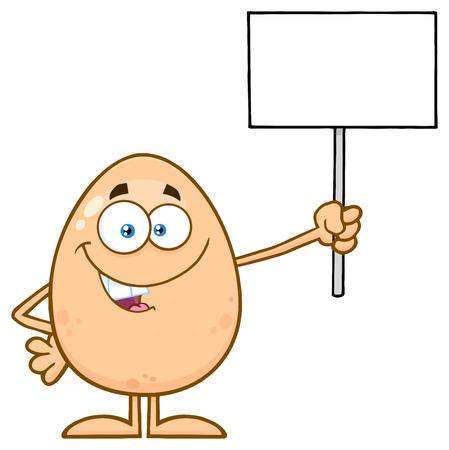 空白記号を保持して卵漫画マスコット キャラクターの話。 白い背景で隔離の図 写真素材