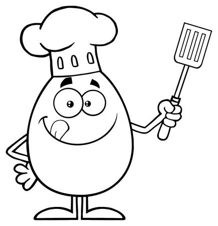 Black And White Chef Egg Cartoon Mascot Character Licking His Lips And Holding A Spatula. Illustration Isolated On White Background