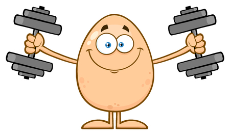 Smiling Egg Cartoon Mascot Character Working Out With Dumbbells. Illustration Isolated On White Background Stock Photo
