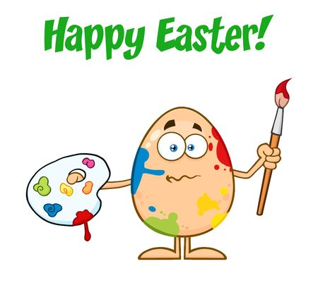 spattered: Confused Egg Cartoon Mascot Character Spattered and Holding A Paintbrush And Palette. Illustration Isolated On White Background With Text Happy Easter Stock Photo