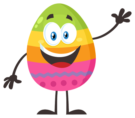 Happy Colored Easter Egg Cartoon Mascot Character Waving For Greeting. Illustration Flat Design Isolated On White Background