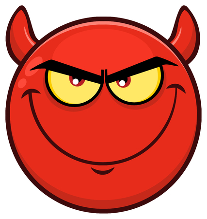 Smiling Red Cartoon Smiley Face Character With Evil Expressions. Illustration Isolated On White Background Stock Photo