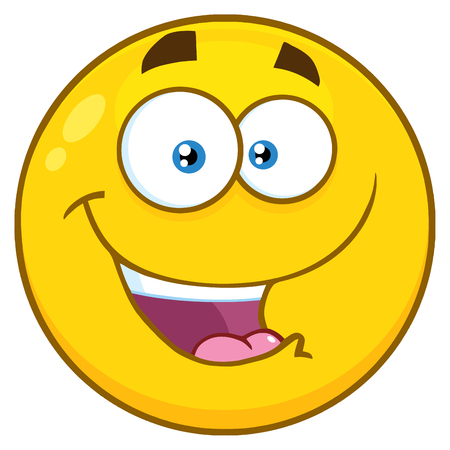 hilarious: Happy Yellow Cartoon Smiley Face Character With Expression. Illustration Isolated On White Background