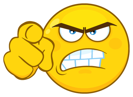 Angry Yellow Cartoon Emoji Face Character With Aggressive Expressions Pointing.  Illustration Isolated On White Background