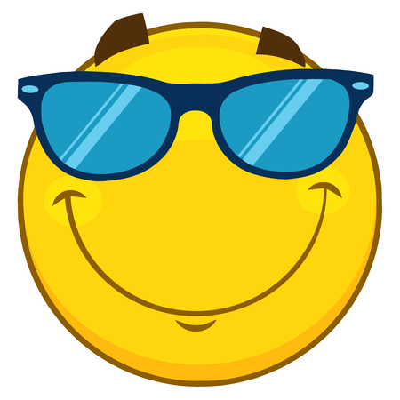 hilarious: Smiling Yellow Cartoon Emoji Face Character With Sunglasses. Illustration Isolated On White Background