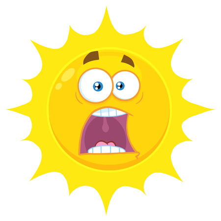 Scared Yellow Sun Cartoon Emoji Face Character With Expressions A Panic. Illustration Isolated On White Background