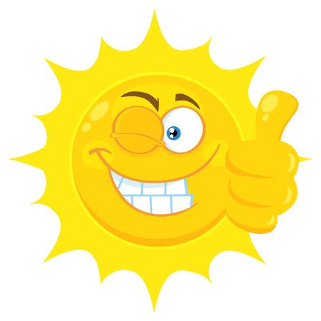 Smile Yellow Sun Cartoon Emoji Face Character With Wink Expression donnant un pouce vers le haut. Illustration isolée sur fond blanc