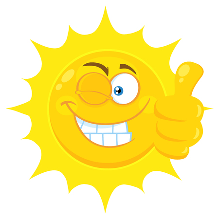 Smiling Yellow Sun Cartoon Emoji Face Character With Wink Expression Giving A Thumb Up. Illustration Isolated On White Background Stock Photo
