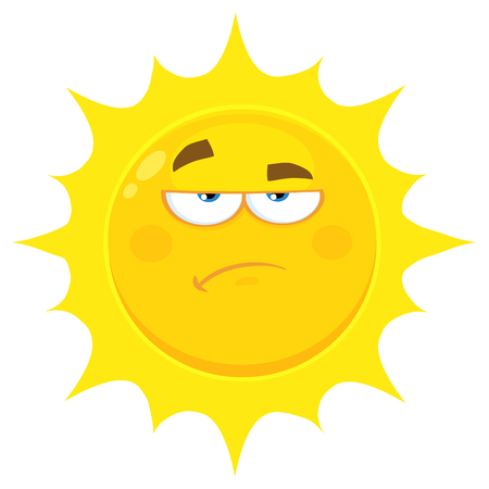 Grumpy Yellow Sun Cartoon Emoji Face Character With Sadness Expression. Illustration Isolated On White Background Stock Photo