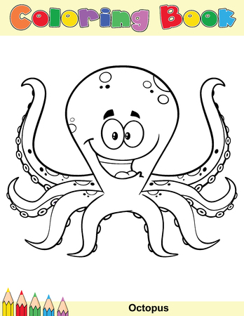 Coloring Book Page With Happy Octopus Cartoon Mascot Character ...