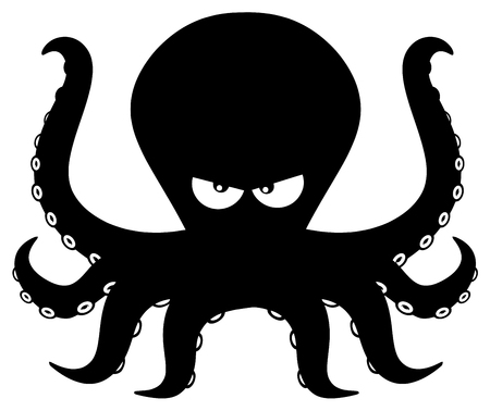 Angry Black Silhouettes Of Octopus Cartoon Mascot Character. Illustration Isolated On White Background