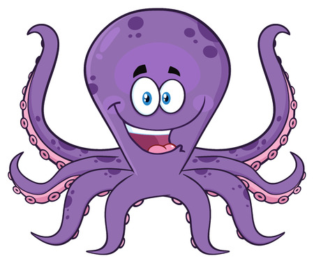 Happy Purple Octopus Cartoon Mascot Character. Illustration Isolated On White Background Фото со стока