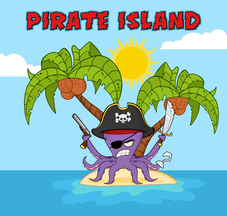 monstrous: Angry Pirate Octopus Cartoon Mascot Character With A Sword Gun And Hook On A Tropical Island. Illustration With Background And Text Pirate Island Stock Photo
