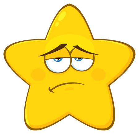 Sadness Yellow Star Cartoon Emoji Face Character With Expression. Illustration Isolated On White Background